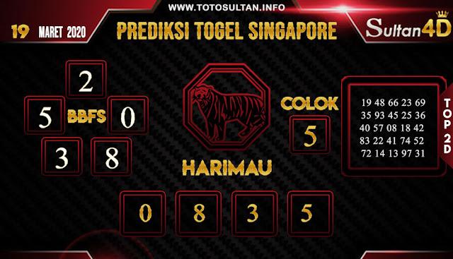 PREDIKSI TOGEL SINGAPORE SULTAN4D 19 MARET 2020