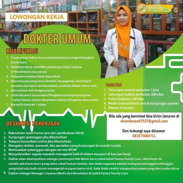 """Loker Dokter Umum """"Indah Farma Family Care"""" Yogyakarta"""