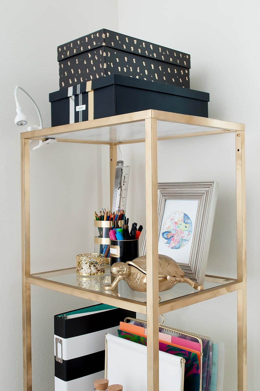 DIY home office organization ideas that are nearly free! This gold vittsojo shelf looks fabulous!