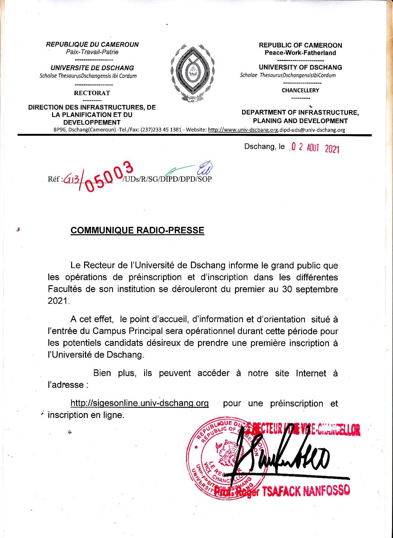 pré-inscriptions en ligne université de dschang 2021