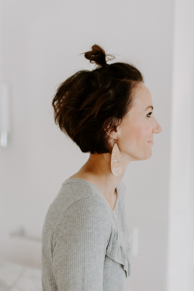Half Top Knot Tutorial For Short Hair One Little Momma