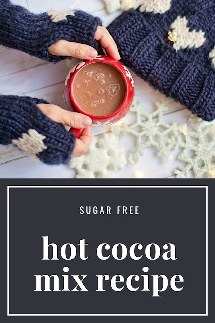 How to make sugar free hot cocoa mix recipe. This easy recipe makes a great gift in a jar. Low carb hot chocolate mix recipe for a dry mix to make one cup at a time. Make instant hot chocolate with unsweetened cocoa, milk powder, and Splenda stevia.  Easy homemade recipe for a healthy sugar free hot cocoa. #hotcocoa #hotchocolate