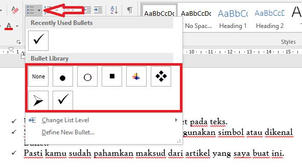 Memberikan Penomoran atau Bullet pada Teks di Microsoft Word