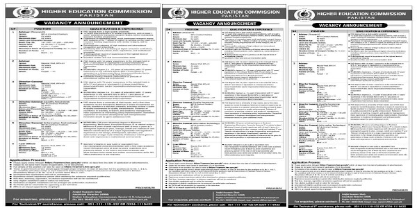 Latest Jobs Higher Education Commission HEC Organization 2021 For Research Advisor, Director General, Law Officer & MORE