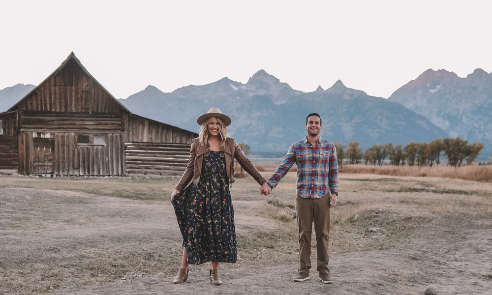 OKC blogger Amanda Martin and her husband visit Mormon Row for a photoshoot in Jackson Hole, Wyoming