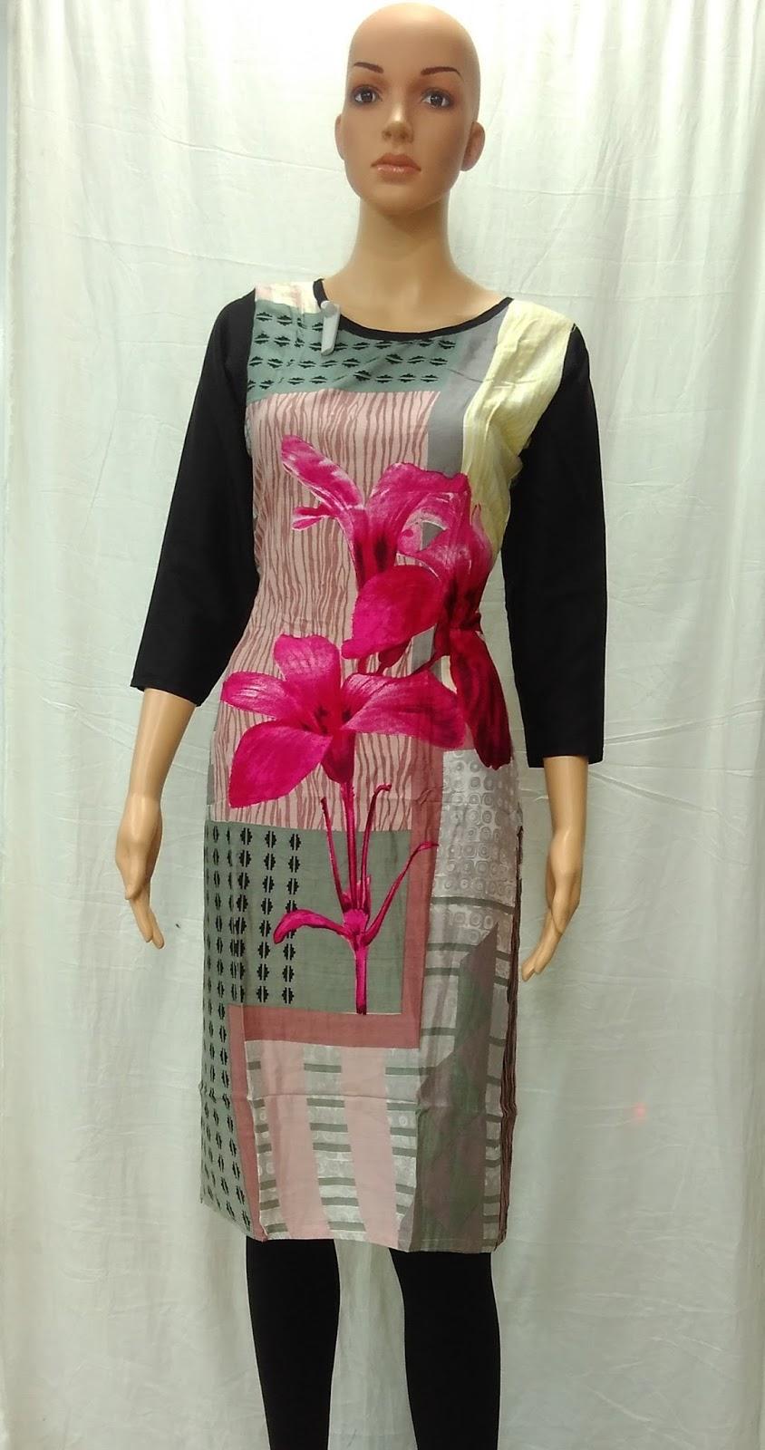 Rayon New Style Straight Side Cut Kurti Wholesale