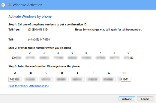 activate ms office 2013 by phone