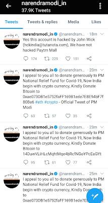 Hacked Twitter account of narendramodi