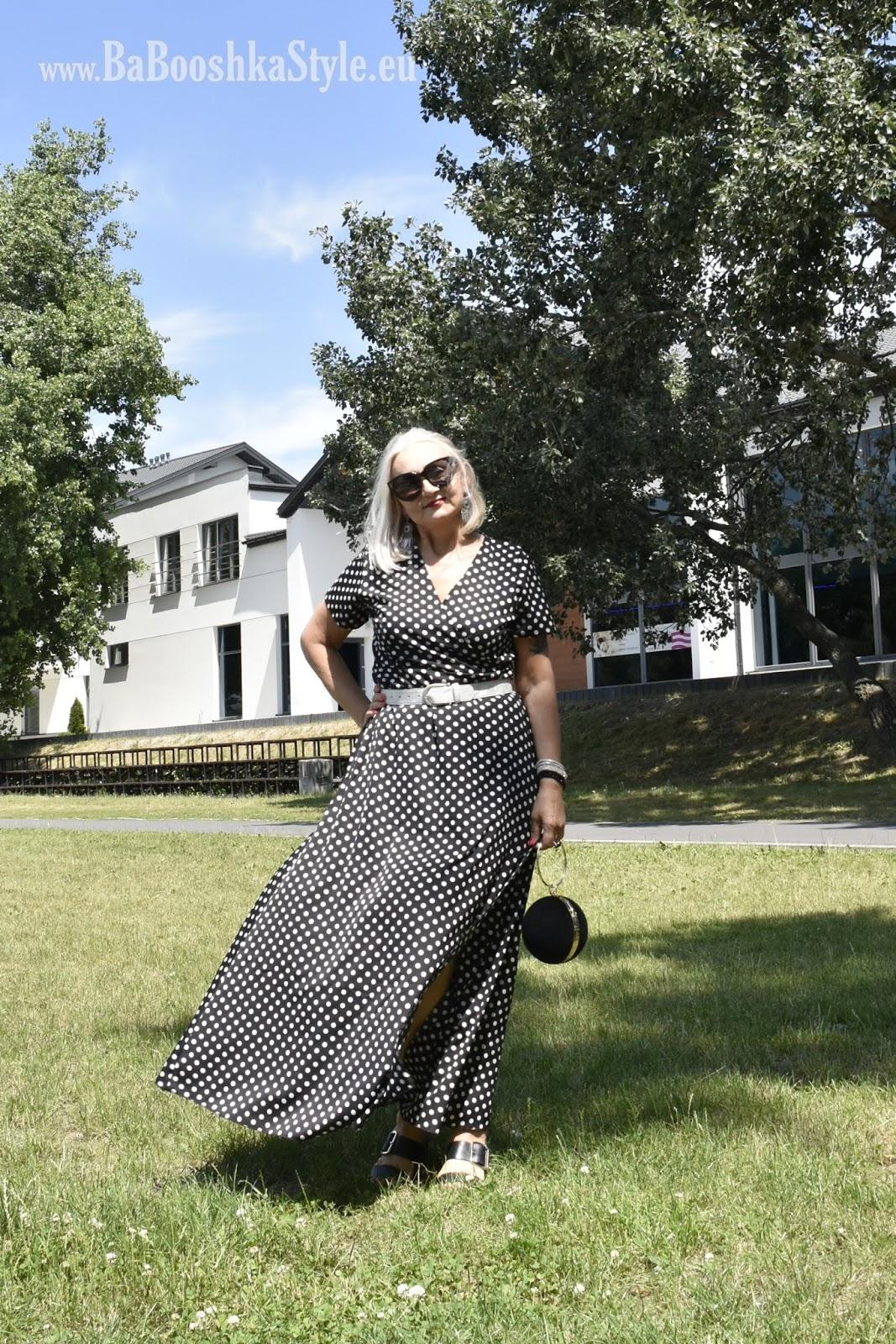 BabooshkaStyle, dress, Dresslily, dressmaxi, grochy, kodmody-stylistka, moda50plus, polecam, Polka dosts, River Island, Rosegal, stylistka