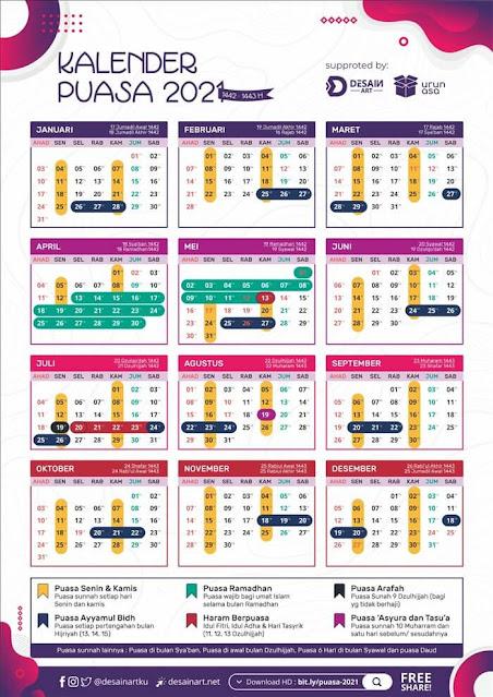 Download Gambar Kalender Puasa Wajib dan Sunnah Tahun 2021