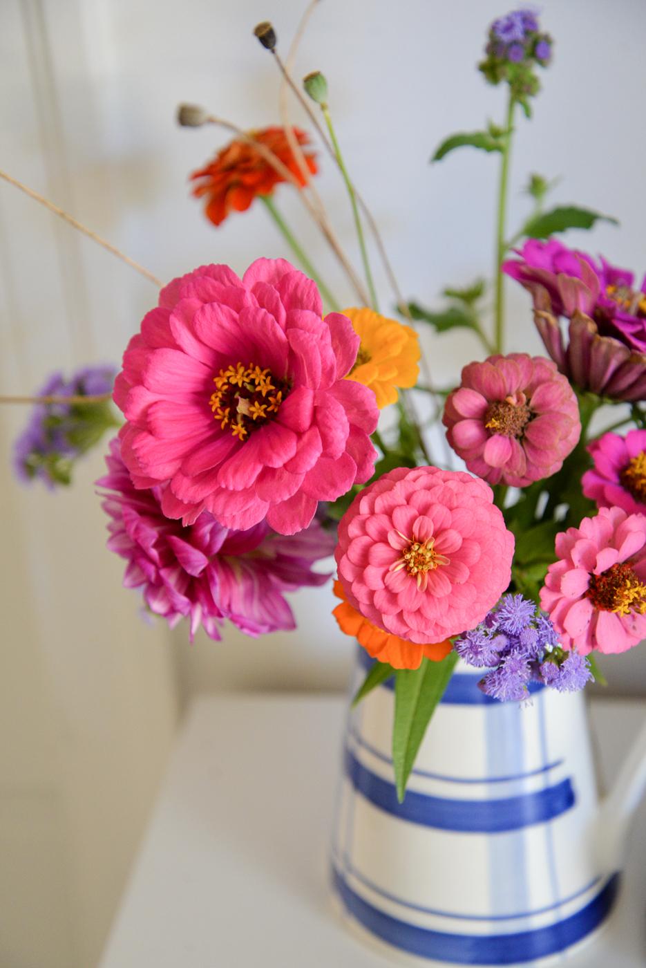 fall zinnias, fall seasonal flowers, vase with fall flowers, cutting garden fall flowers