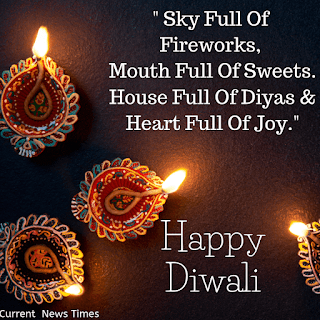 Diwali Quotes with 4 earten lamps- Happy Diwali Wishes