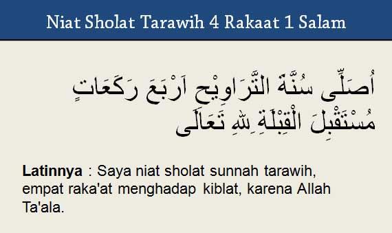 Niat sholat tarawih 4 rakaat 1 salam