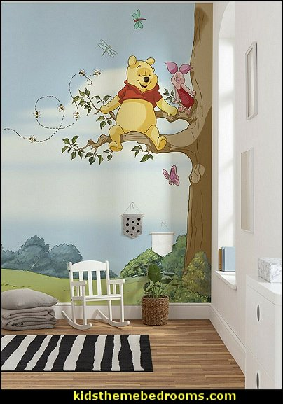 Winnie The Pooh mural Winnie The Pooh kids nursery decor wallpaper kids nursery decor