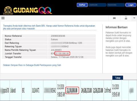 Selamat Kepada Member Setia GudangQQ WD sebesar Rp. 22,100,000.-