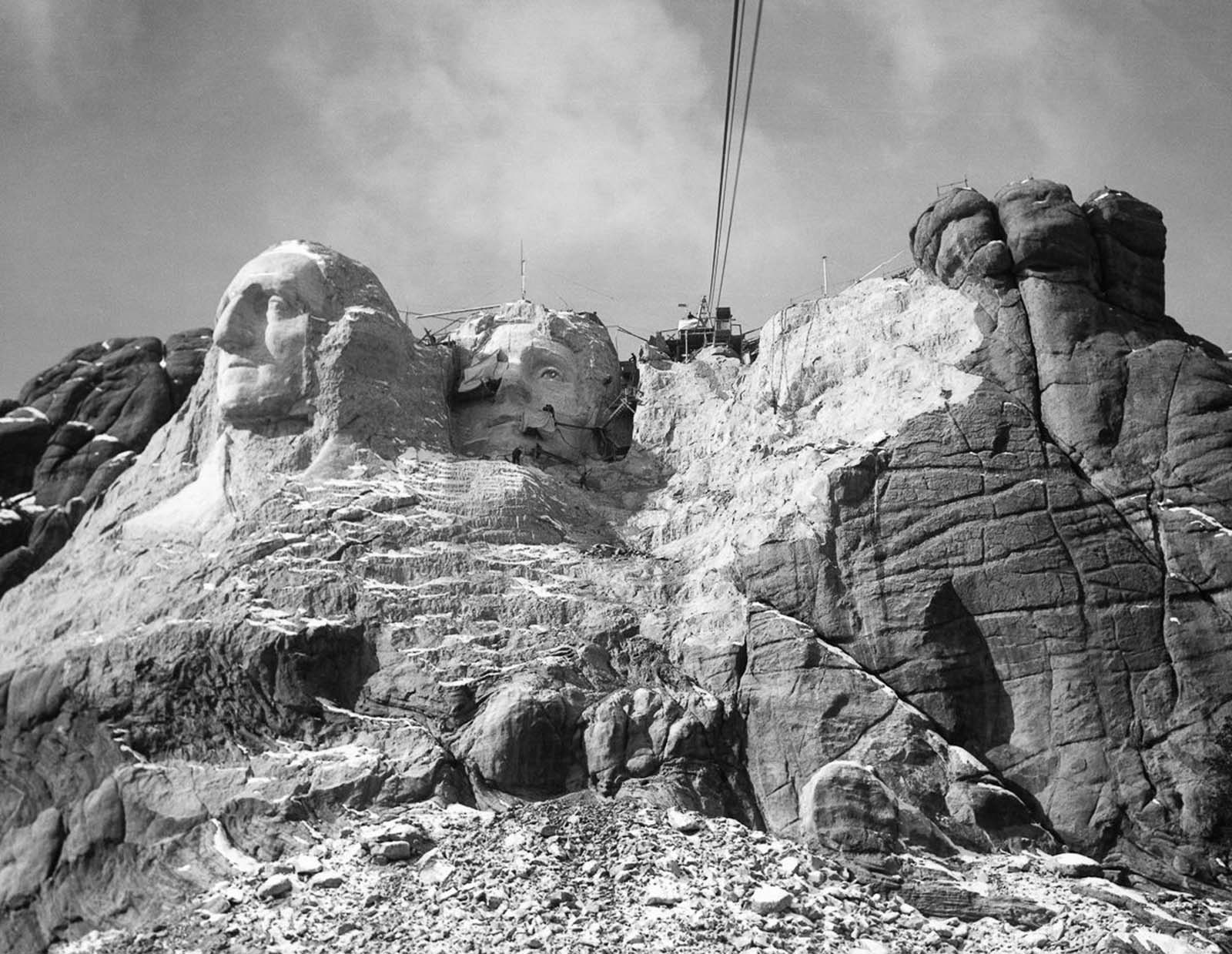 The progress of Mount Rushmore project in 1935.