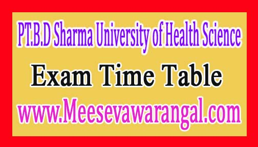 PT.B.D Sharma University of Health Science B.Pharmacy Ist/ IInd/ IIIrd / IVth Year Supply 2016 Exam Time Table