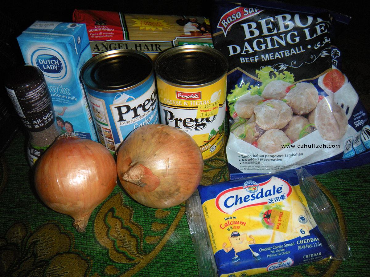 Bahan-Bahan Resepi Spaghetti/Pasta Carbonara Cheesy Creamy