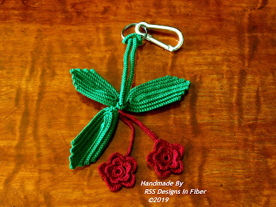 Red Roses and Green Leaves Keychain - Irish Crochet Accessory By Ruth Sandra Sperling at RSS Designs In Fiber
