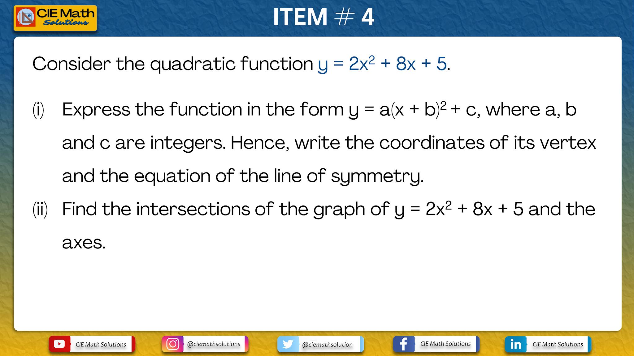 Practice Exercises On Basic Quadratics As Level