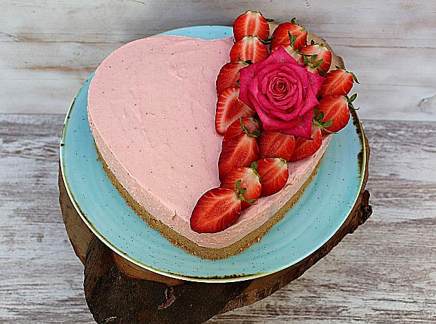 cheesecake de morango sem forno