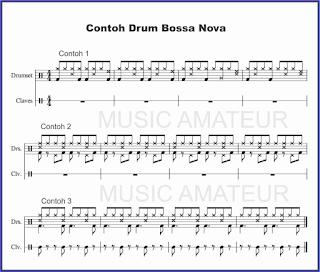 gambar beat drum bossa nova pada not balok