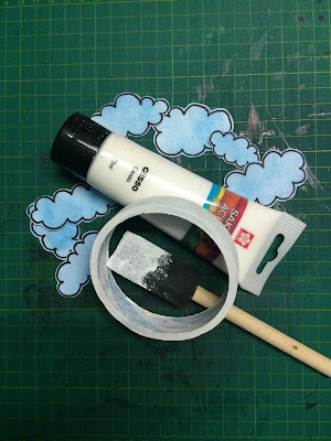 Fussy cut clouds and gesso roll