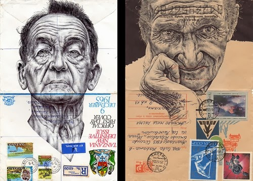 00-Portraits-on-Envelopes-Documents-or-Sheets-of-Music-British-Artist-Mark-Powel-www-designstack-co