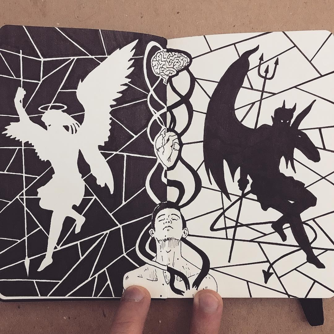 09-Light-and-Darkness-Francisco-Del-Carpio-Moleskine-Black-and-White-Ink-Drawings-www-designstack-co