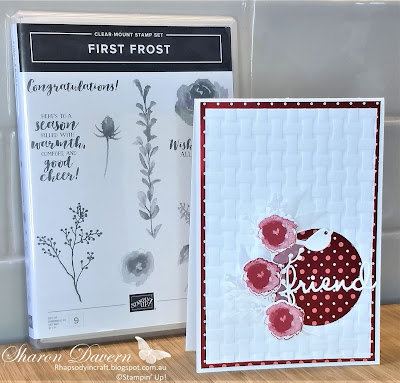 First Frost, Monochromatic Cards, Friendship Cards, Stampin' Up, Rhapsodyincraft, Frosted Bouquet, Basket Weave 3D Folder, Art With Heart Creative Showcase