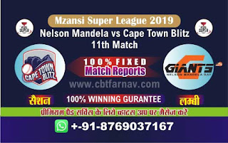Mzansi Super League Nelson vs Cape Town 11th MSL T20 2019 Match Prediction Today Reports
