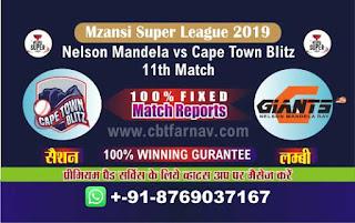 Mzansi Super League Nelson vs Cape Town 11th MSL T20 2019 Match Prediction Today Reports