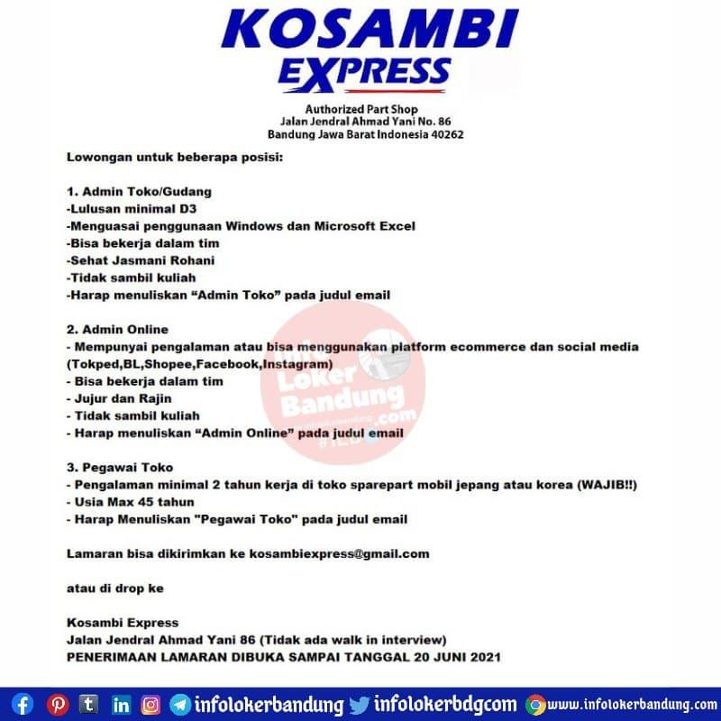 Lowongan Kerja Kosambi Express Bandung Juni 2021