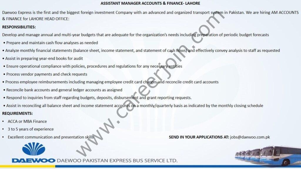 Daewoo Pakistan Express Bus Service Ltd Jobs Assistant Manager Accounts & Finance
