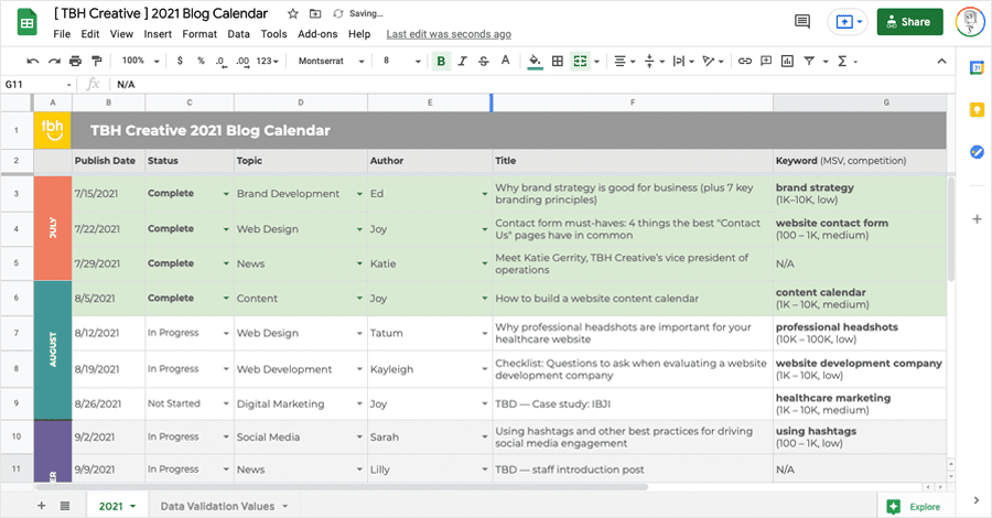 TBH Creative's content calendar used to manage its website's blog articles