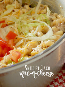 Skillet Taco Mac-n-Cheese...a delicious, family friendly one pot 30-minute meal!  Use your leftover taco meat and combine it with a creamy, rich, cheesy pasta. (sweetandsavoryfood.com)