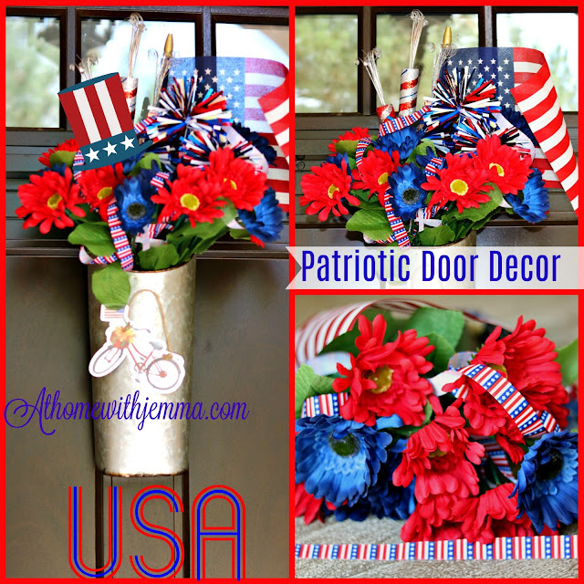Decorating for the 4th of July with a DIY Galvanized Patriotic Themed Door Decor At Home With Jemma