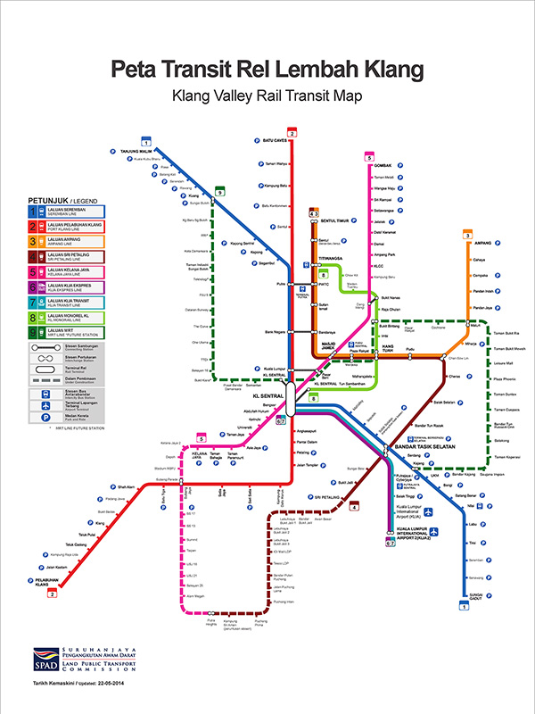 Good girl go travel Kuala Lumpur Train Map Guide for tourist MRT