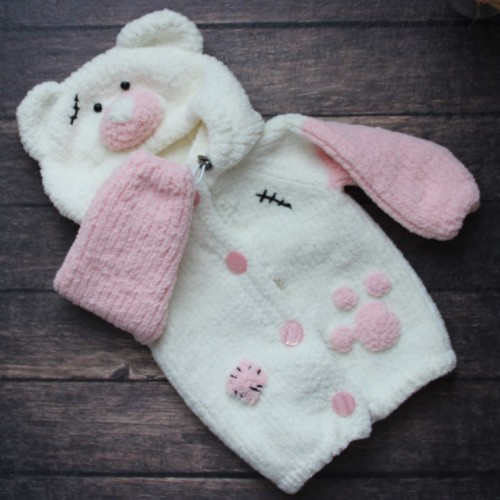Knitted Jacket Teddy Bear - Age of 9-12 months. - Tutorial