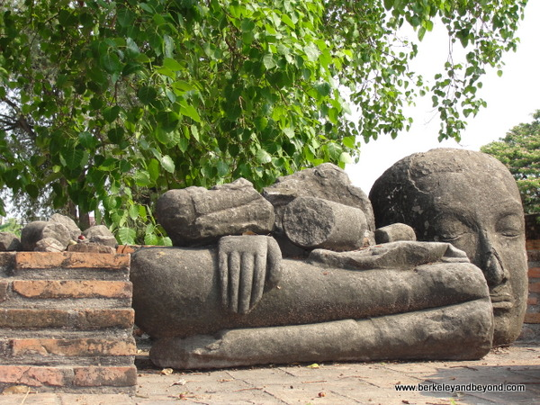damaged Buddha statue at Wat Rajburana at Ayutthaya Historical Park in Thailand