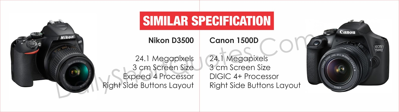 Nikon D3500 and Canon 1500D Similar Features Specifications