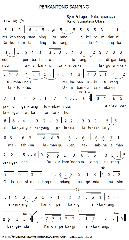 Lagu Karo: Perkantong Samping