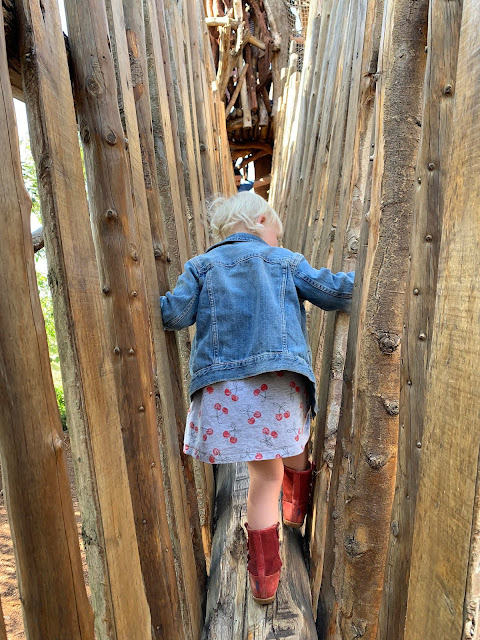 Climbing up a wooden slope
