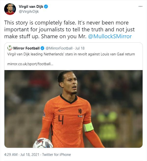 Virgil van Dijk slams 'completely false' claims of Louis van Gaal protest