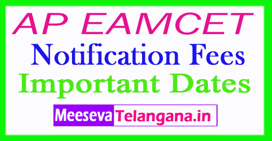 AP EAMCET 2019 Notification Fees Important Dates