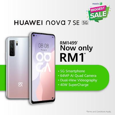 Huawei Maxis Promotion Nova 7 SE at RM 1