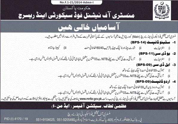 Ministry Of National Food And Security Research Jobs