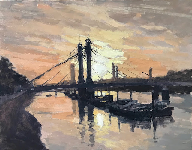 #323 'Sunrise over Albert Bridge' 11×14″