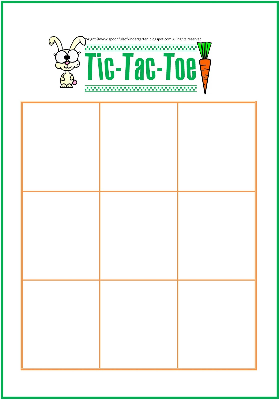 Spoonfuls Of Kindergarten Tic Tac Toe Game Board For