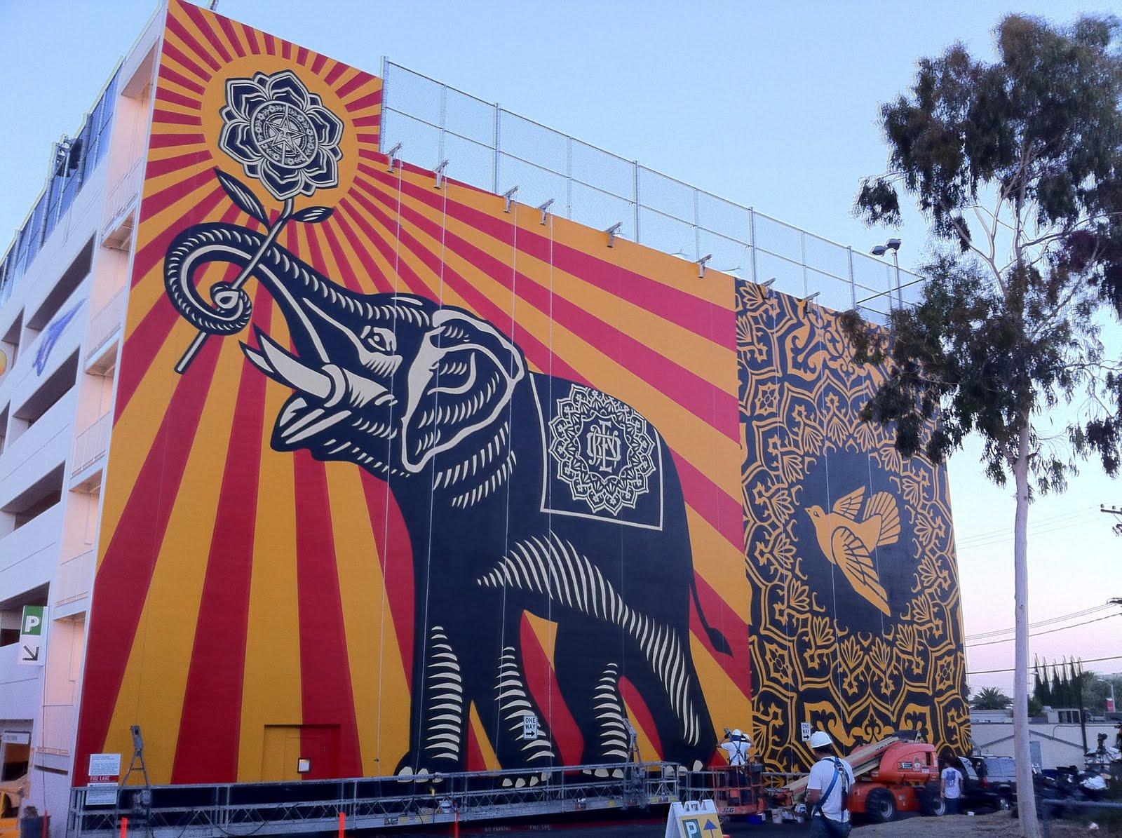 "Shepard Fairey ""Peace Elephant"" New Mural In Los Angeles ..."
